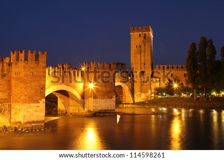 Castle Vecchio in Verona, Italy. Night shot - stock photo