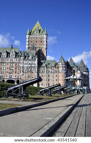 Castle: View of the Chateau Frontenac in Quebec City, Canada. - stock photo