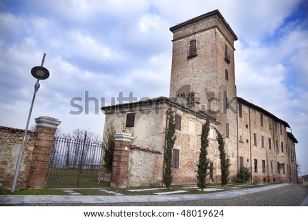 Castle-Villa of Counts Premoli in Montebello della Battaglia, Oltrepo Pavese, Pavia, Italy. - stock photo