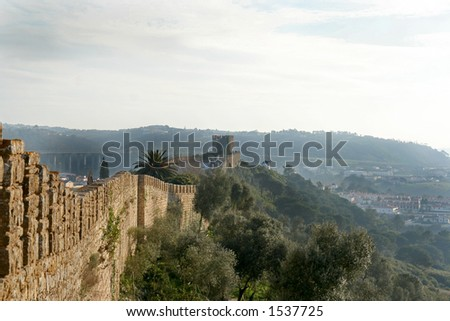Castle wall in Obidos - Portugal - stock photo