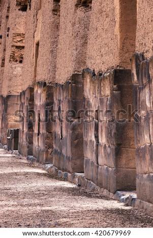 castle wall of Wiracocha, Raqchi, Peru - stock photo