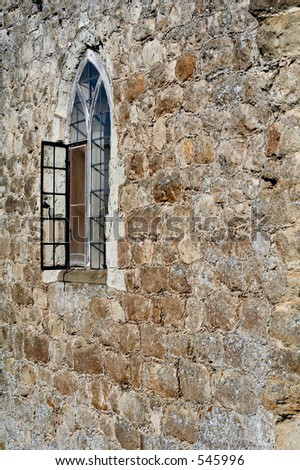 Castle wall with window - stock photo