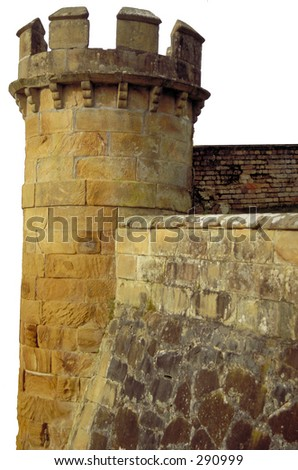 Castle walls and tower on white background