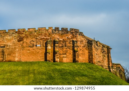 Castle Walls on Grass Mound, Chester England - stock photo
