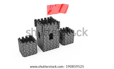 castle with flag t for use in presentations, manuals, design, etc. - stock photo
