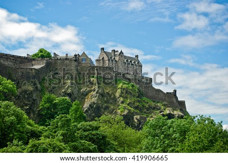 Castle With Green Trees And Blue Sky