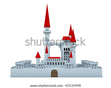 Castle with red roof isolated on white - stock photo