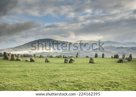 Castlerigg Neolithic Stone Circle situated in a valley beneath the mountain Helvellyn - stock photo