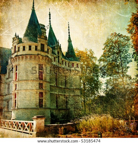 castles of France - vintage series - stock photo