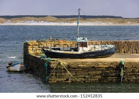 Castletown Harbour near Dunnet Head in northern Scotland. UK. Dunnet Head is the most northerly point on the British mainland. - stock photo