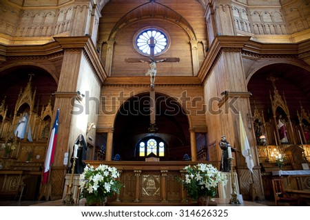CASTRO, CHILE - JANUARY 28, 2015: San Francisco church with its beautiful wooden interior is designated a UNESCO world heritage site & is part of the wooden churches of Chiloe