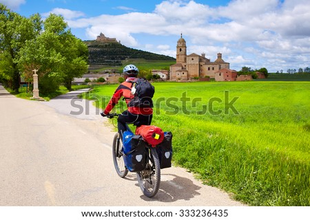 Castrojeriz biker on the way of Saint James at Castilla Spain - stock photo