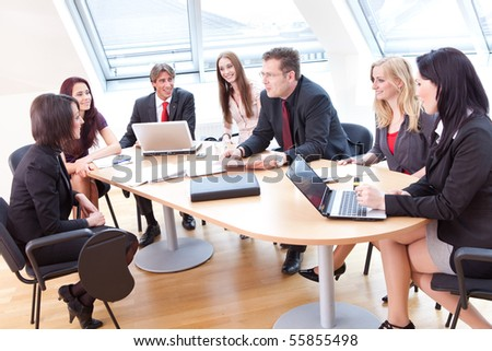 casual ambiance at the business meeting in a modern office - stock photo