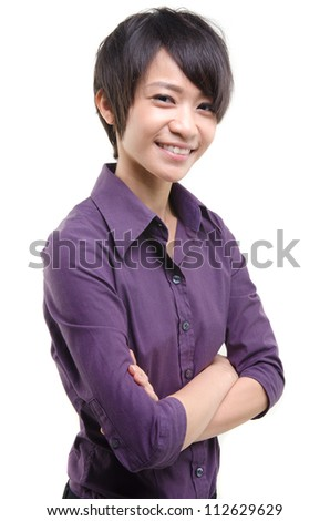 casual asian busines woman isolated on white - stock photo