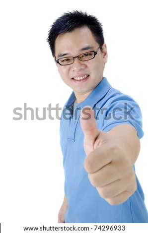 casual asian man giving a thumbs up with isolated white background - stock photo