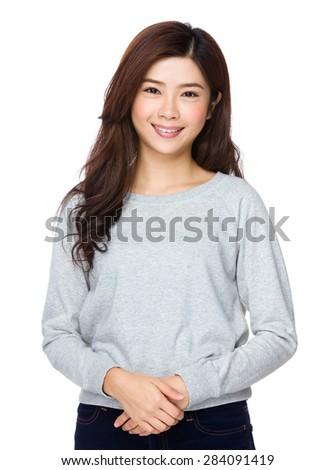 Casual asian woman - stock photo