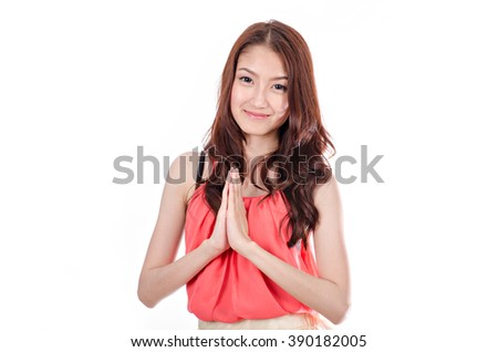 Casual asian woman isolated on white background - stock photo