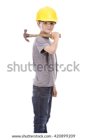 casual boy wearing yellow construction helmet on white background