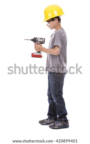 casual boy wearing yellow construction helmet on white background - stock photo