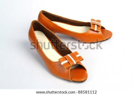 Casual Brown Leather Women's Shoe - stock photo