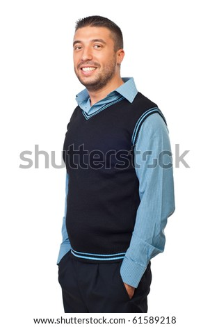 Casual business man standing with hands in pockets and smiling isolated on white background