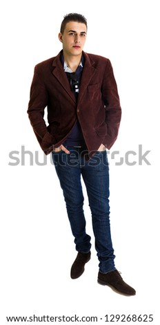 Casual business man with hands in pockets, full length. White background - stock photo