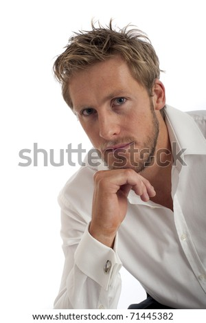Casual business type man isolated against white