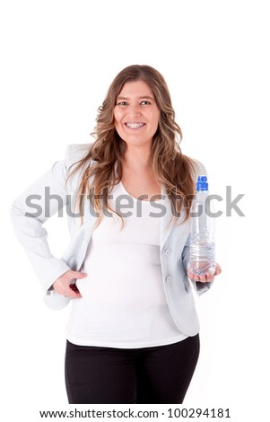 Casual business woman holding a bottle of water - stock photo