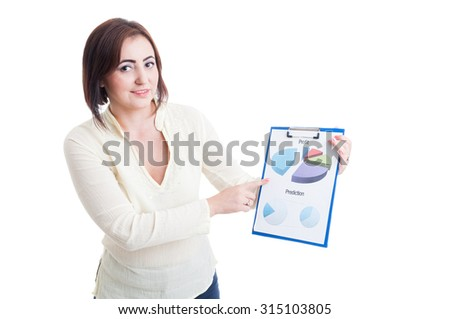 Casual business woman showing printed financial and sales chart isolated on white background - stock photo