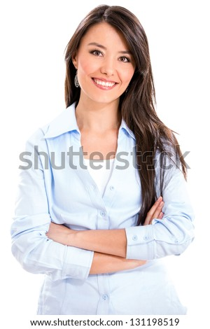 Casual business woman smiling - isolated over a white background - stock photo
