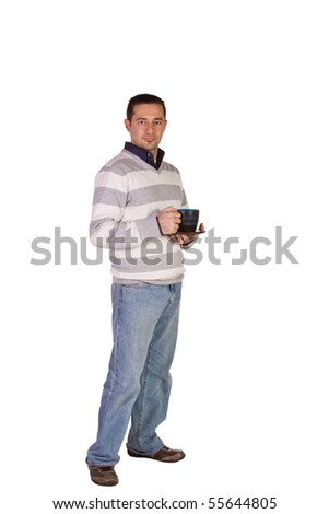 Casual Businessman Drinking Coffee on an Isolated Background