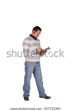 Casual Businessman With a Clipboard on an Isolated Background