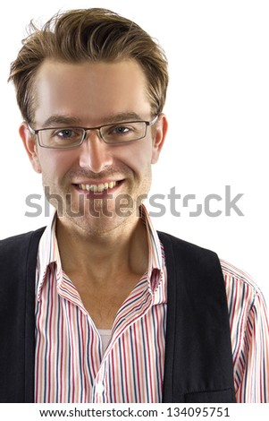 Casual Businessman. young Caucasian male isolated on a white background. - stock photo