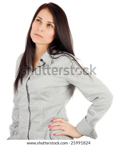 Casual businesswoman isolated on white background - stock photo