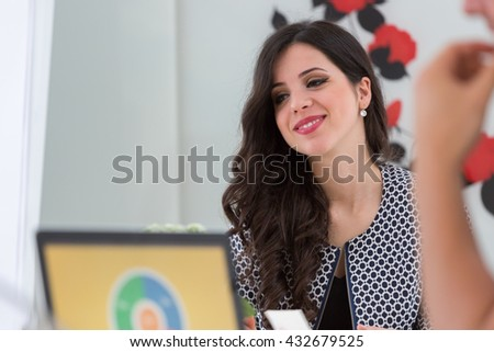 Casual caucasian businesswoman at business startup office smiling - stock photo