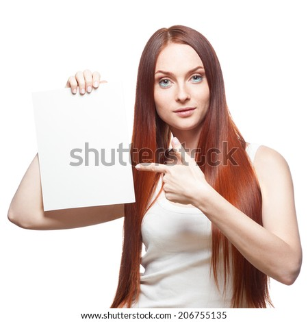 casual caucasian red woman holding sign isolated on white - stock photo