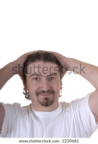 casual caucasian young man with his hands in the head