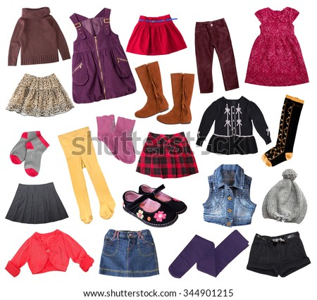 Casual child girl clothes set isolated on white. Kid's fashion clothing collage.Different mixed apparel. - stock photo