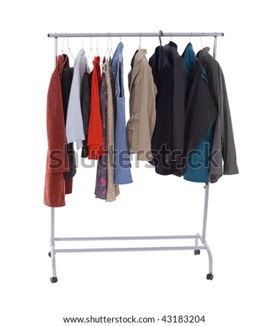 casual clothes on hanger in Clothing store - stock photo
