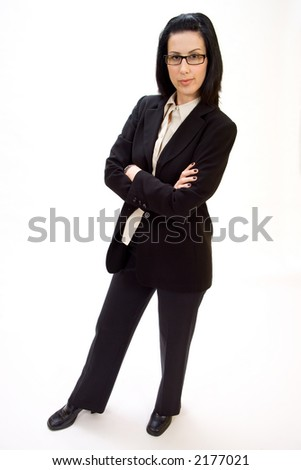Casual corporate full body portrait of female executive smiling