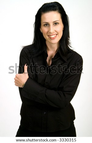 Casual corporate headshot of female executive smiling on white background - stock photo