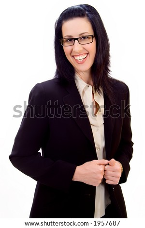 Casual corporate portrait of female executive smiling - stock photo