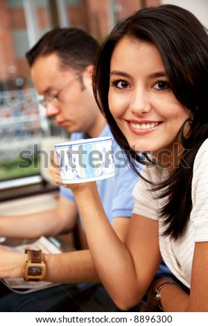 casual couple relaxing at their place - lifestyle - stock photo