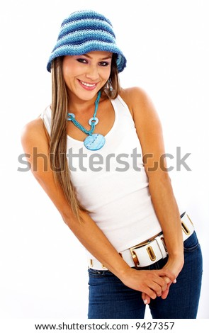 casual cute woman portrait smiling and wearing a hat isolated over a white background