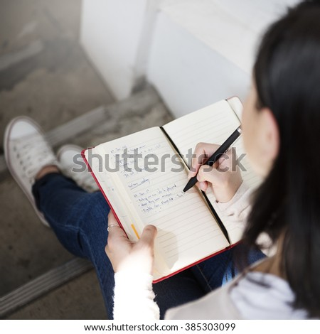 Casual Diary Journal Leisure Message Woman Concept - stock photo