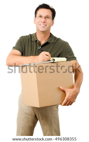 Casual Dress Businessman Deliveryman with Clipboard and Box on White