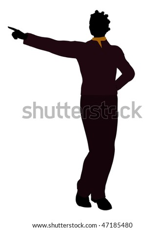 Casual dressed african american female silhouette on a white background