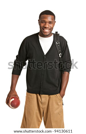 Casual Dressed Happy College Black Student Holding Football Isolated on White Background