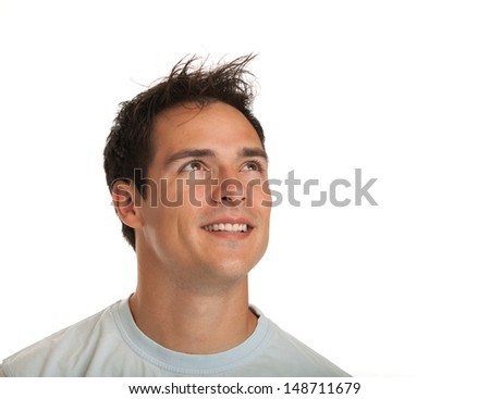 Casual Dressed Happy College Student Headshot Thoughtfull Expression Isolated on White Background - stock photo