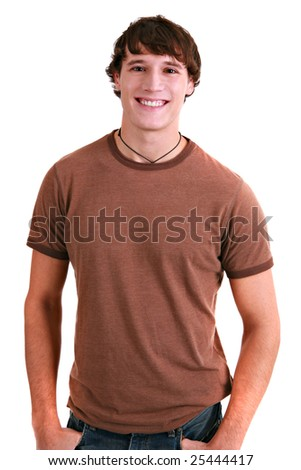 Casual Dressed Happy College Student Isolated on White - stock photo